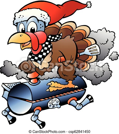 Cartoon Vector illustration of an Christmas Thanksgiving Turkey riding a BBQ grill barrel - csp62841450