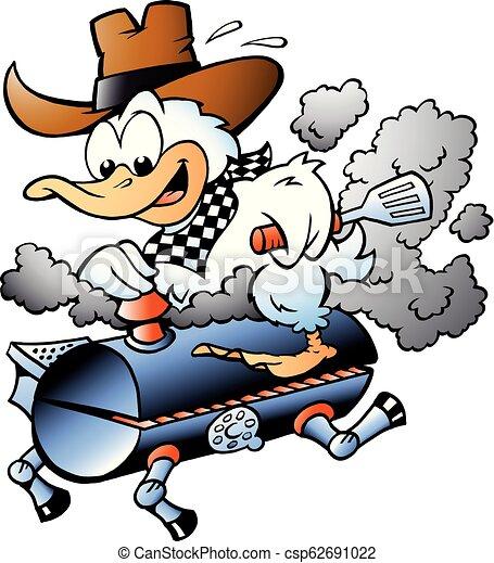 Cartoon Vector illustration of an Duck riding a BBQ grill barrel - csp62691022