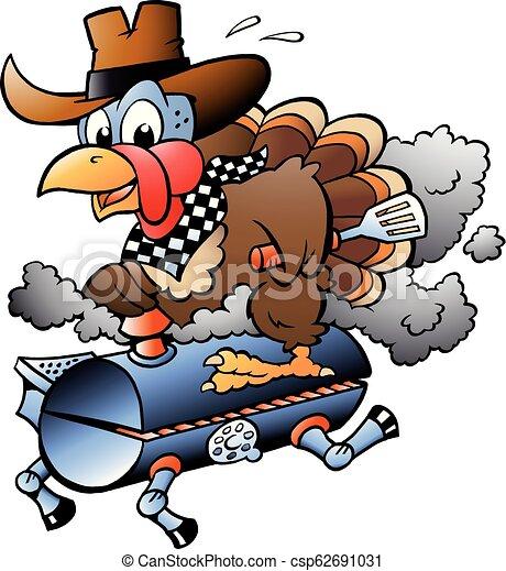 Cartoon Vector illustration of an Thanksgiving Turkey riding a BBQ grill barrel - csp62691031