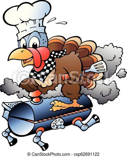 Cartoon Vector illustration of an Thanksgiving Turkey Chef riding a BBQ grill barrel - csp62691122