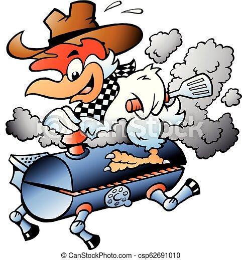 Cartoon Vector illustration of an Chicken riding a BBQ grill barrel - csp62691010