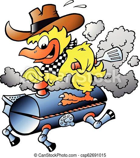 Cartoon Vector illustration of an Yellow Chicken riding a BBQ grill barrel - csp62691015