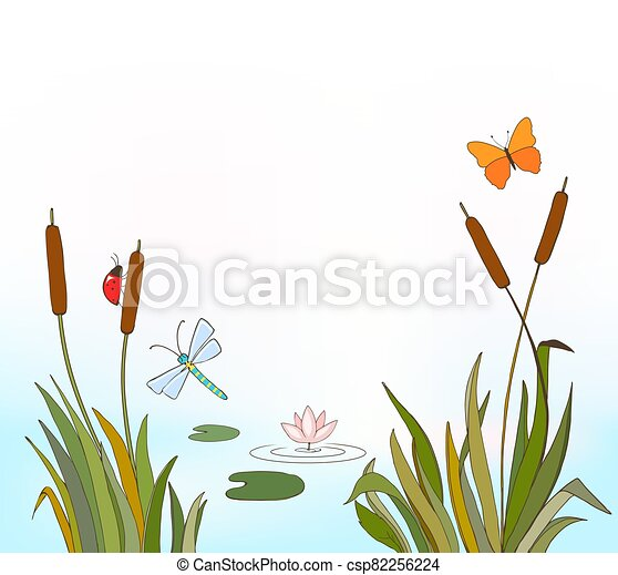 cartoon vector illustration of reeds and flying insects, waterlily on lake as summer or spring background - csp82256224