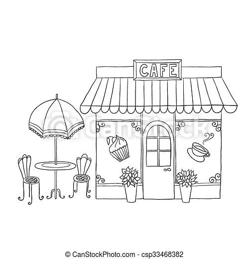Cartoon vector illustration of street cafe. - csp33468382