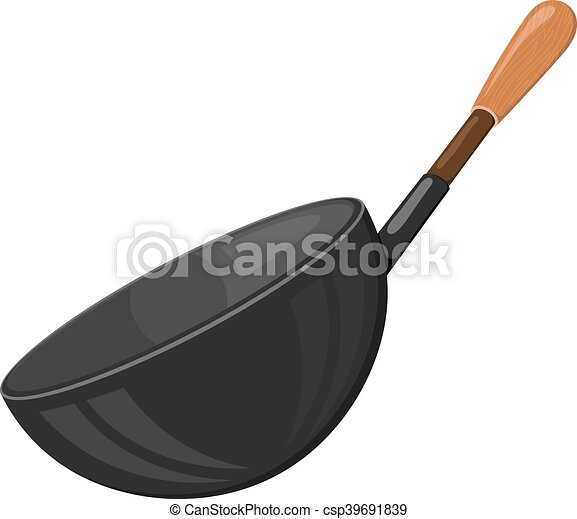Cartoon vector image of a black frying pan with a wooden handle on a white background. Kitchen utensils. Accessory for the kitchen. Stock vector illustration - csp39691839