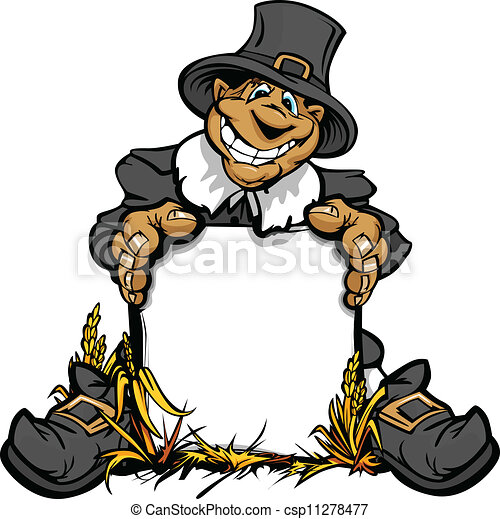 Cartoon Vector Image of a Happy Thanksgiving Holiday Pigrim Holding a Sign - csp11278477