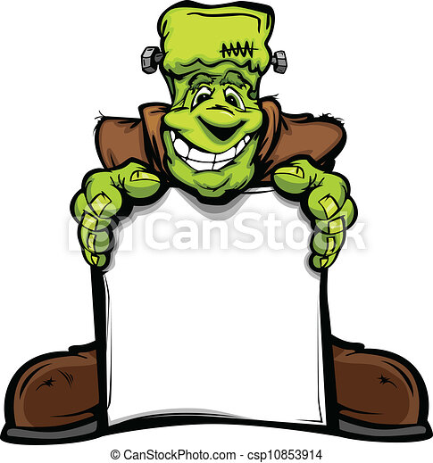 Cartoon Vector Image of a Happy Halloween Monster Frankenstein Head Holding a Sign - csp10853914