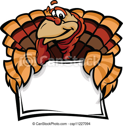 Cartoon Vector Image of a Thanksgiving Holiday Turkey Holding a Sign - csp11227094