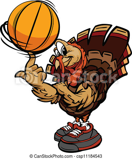 Cartoon Vector Image of a Thanksgiving Holiday Soccer Turkey spinning a Basketball Ball on Its Finger - csp11184543