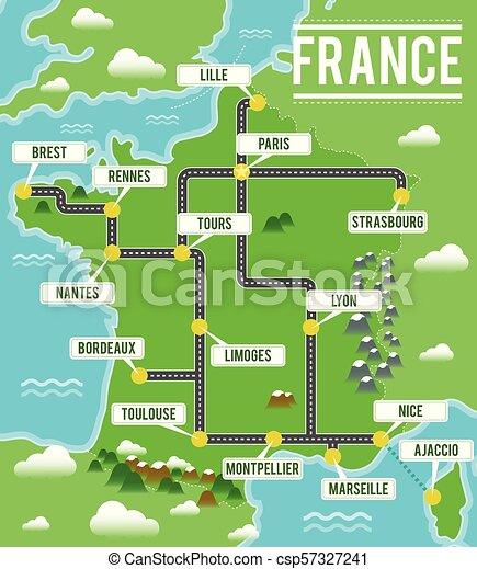 Map Of France In French.Cartoon Vector Map Of France Travel Illustration With French Main Cities