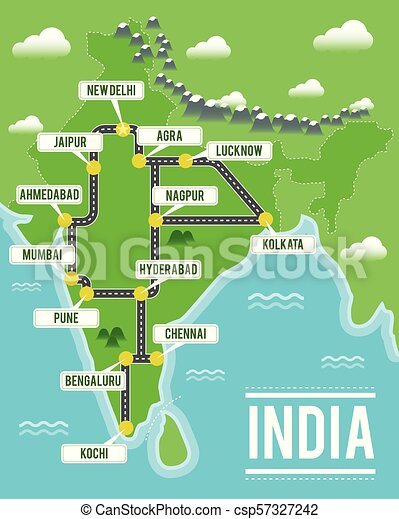 India Travel Map Cartoon vector map of india. travel illustration with indian main cities.