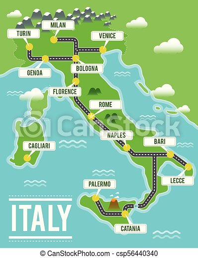 Map Of Italy In Italian.Cartoon Vector Map Of Italy Travel Illustration With Italian Main Cities