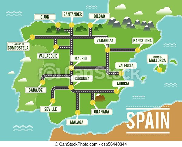 Cartoon Vector Map Of Spain Travel Illustration With Spanish Main Cities