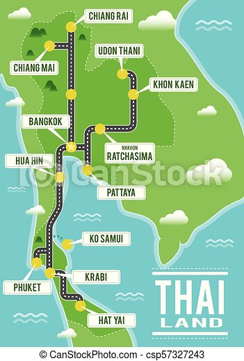 Cartoon vector map of Thailand. Travel illustration with thai main cities.