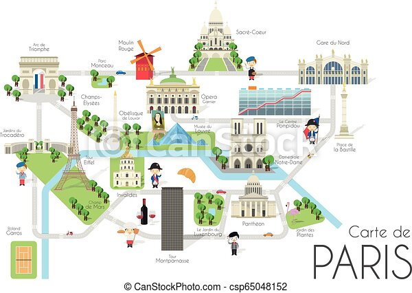 Cartoon Vector Map Of The City Of Paris France Travel Illustration With Landmarks And Main Attractions Canstock