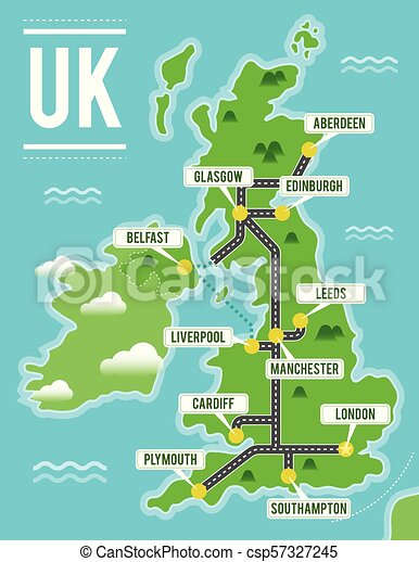 Map Of Uk And Cities.Cartoon Vector Map Of United Kingdom Travel Illustration With British Main Cities
