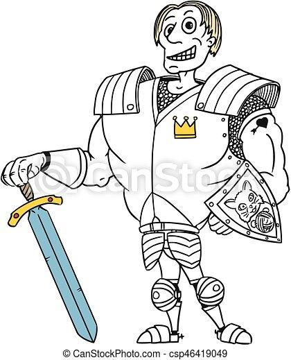 Cartoon Vector Medieval Fantasy Hero Knight Prince - csp46419049