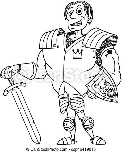 Cartoon Vector Medieval Fantasy Hero Knight Prince - csp46419018