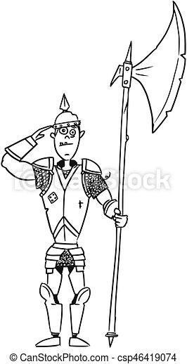 Cartoon Vector Medieval Fantasy Knight Guard Soldier - csp46419074