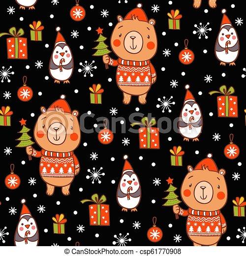 Cartoon Vector New Year Texture Cute Seamless Christmas Pattern