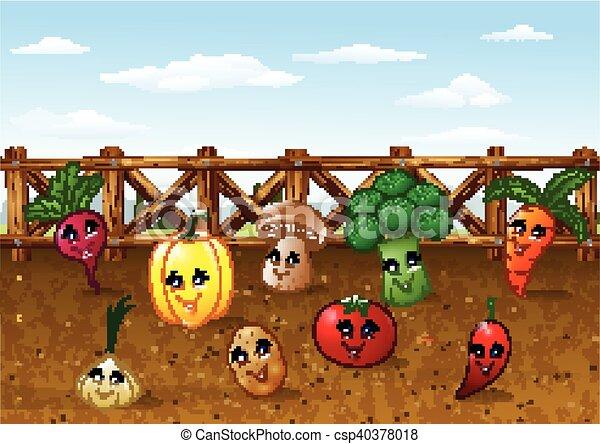 Vector illustration of cartoon vegetable garden farm ...