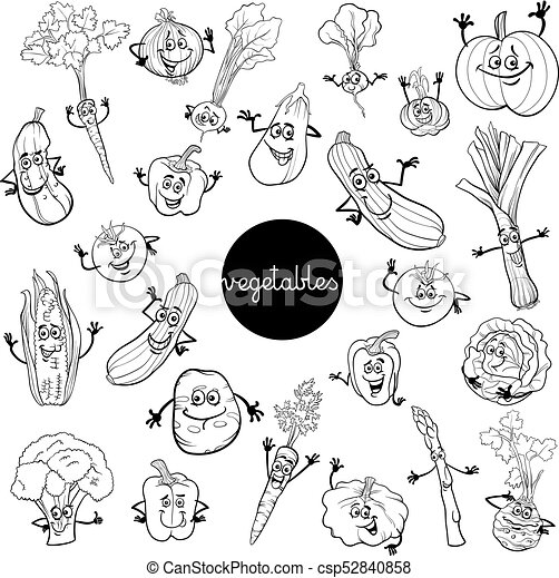 Cartoon Vegetables Characters Set Color Book