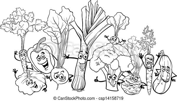 cartoon vegetables for coloring book - csp14158719