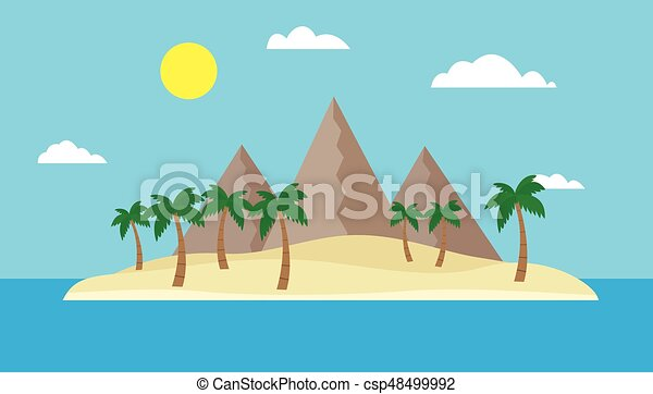 Cartoon view of a tropical island in the middle of an ocean or sea with a sandy beach, palm trees and mountains under a blue sky with clouds and sun on a bright summer day - vector, flat - csp48499992