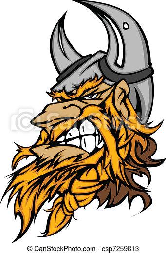 Cartoon Viking Mascot Head - csp7259813