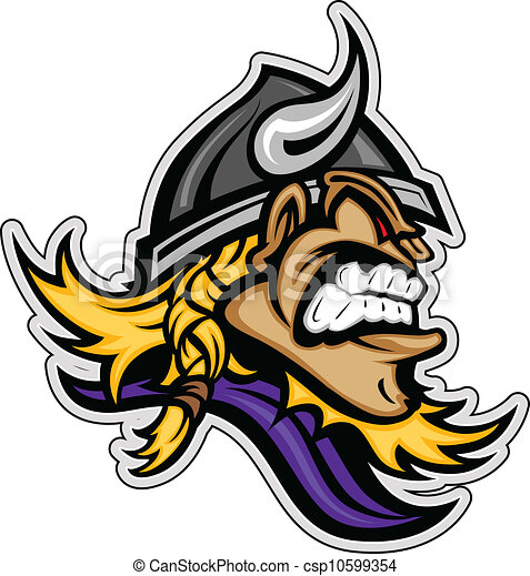 Cartoon Viking Mascot Head Vector Image with Horned Helmet - csp10599354