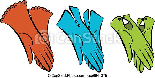 Cartoon Vintage Woman S Gloves Vector