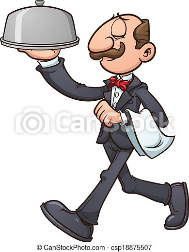 cartoon waiter vector clip art illustration with simple gradients rh canstockphoto ca water clipart waiter clipart png