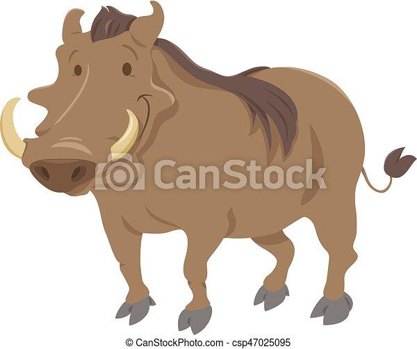 cartoon warthog animal character - csp47025095