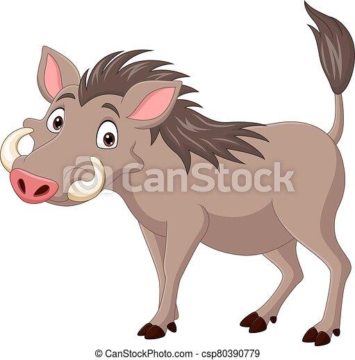 Cartoon warthog isolated on white background - csp80390779