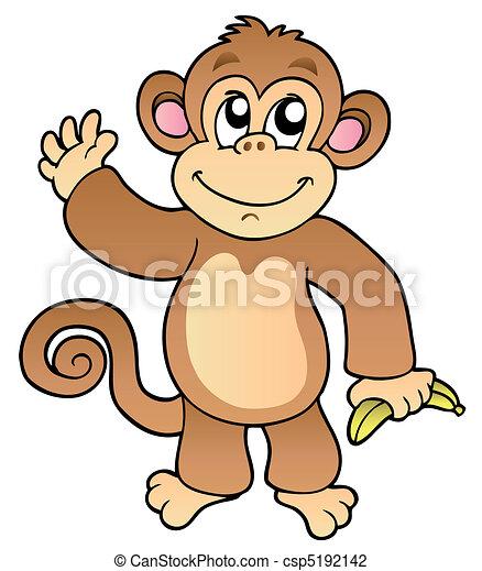 Cartoon waving monkey with banana - csp5192142