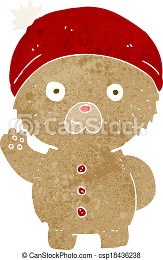 cartoon waving teddy bear in winter hat - csp18436238