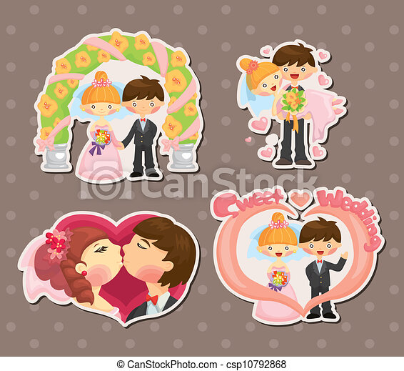 cartoon wedding set - csp10792868