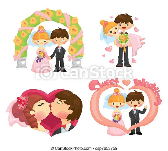 cartoon wedding set - csp7653759