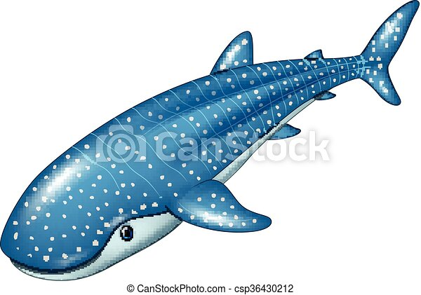 Vector Illustration Of Cartoon Whale Shark Isolated On White Background