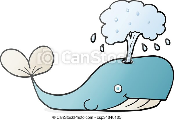 Freehand drawn cartoon whale spouting water.