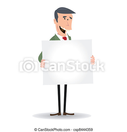 Cartoon White Businessman Blank Sign - csp8444359