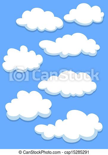 Cartoon white clouds on sky - csp15285291