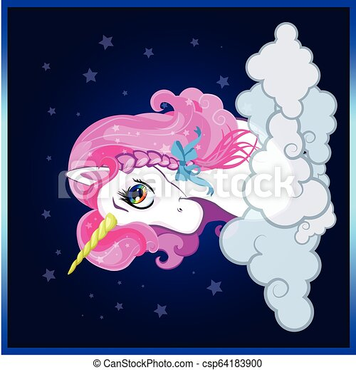 Cartoon White Unicorn Head With Pink Hair And Plaid Bow Portrait On Night Sky With Cloud Background Cartoon White Pony