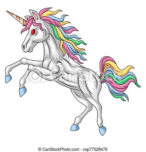 Cartoon white unicorn standing with a mane rainbow - csp77528476