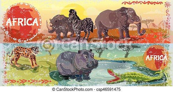 Cartoon Wild Africa Horizontal Banners