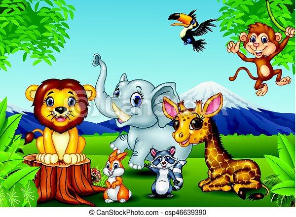 Cartoon wild animal in the jungle - csp46639390