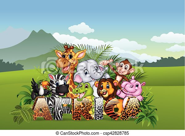 Cartoon wild animal in the jungle - csp42828785