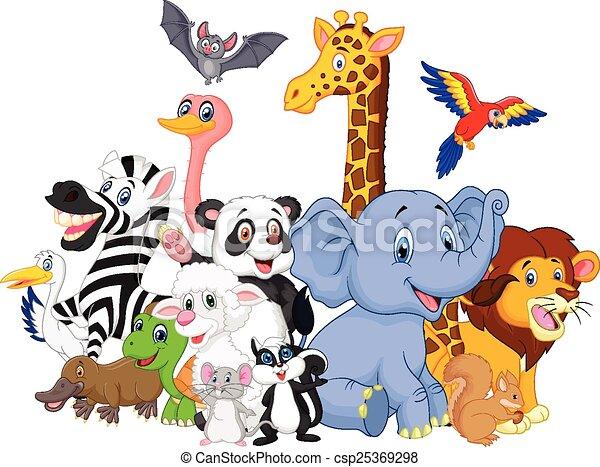 Cartoon wild animals background  - csp25369298