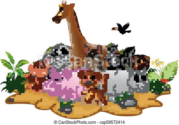 Vector Line Art Animals : Vector illustration of cartoon wild animals background