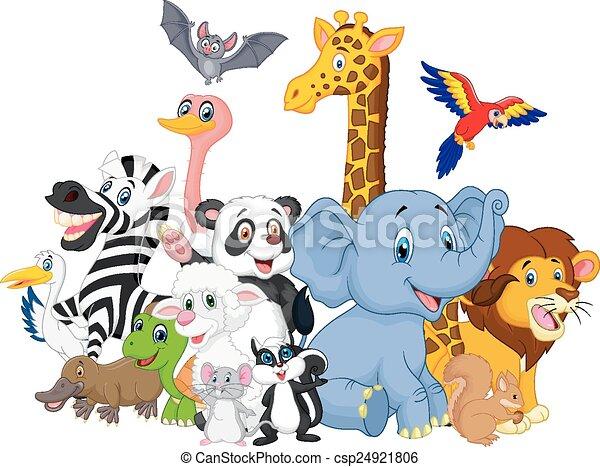 Cartoon wild animals background  - csp24921806